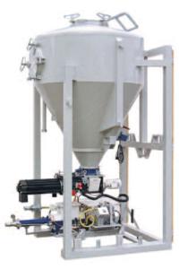genomströmningsblandare med silo och pump